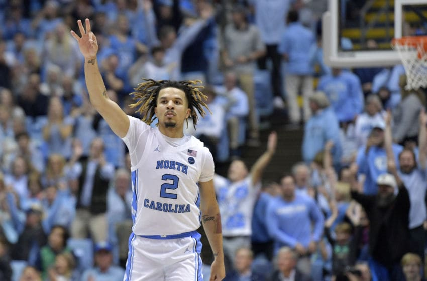 CHAPEL HILL, NORTH CAROLINA - NOVEMBER 06: Cole Anthony #2 of the North Carolina Tar Heels reacts after making a three-point basket against the Notre Dame Fighting Irish in the second half at the Dean Smith Center on November 06, 2019 in Chapel Hill, North Carolina. North Carolina won 76-65. (Photo by Grant Halverson/Getty Images)