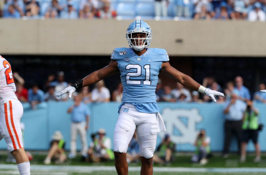 CHAPEL HILL, NC - SEPTEMBER 28: Chazz Surratt #21 of the University of North Carolina reacts after making a tackle during a game between Clemson University and University of North Carolina at Kenan Memorial Stadium on September 28, 2019 in Chapel Hill, North Carolina. (Photo by Andy Mead/ISI Photos/Getty Images)