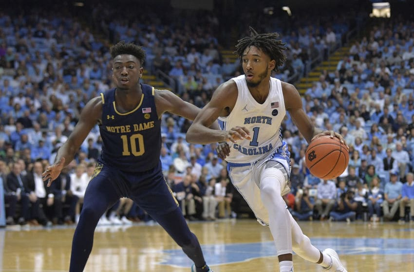 CHAPEL HILL, NORTH CAROLINA - NOVEMBER 06: Leaky Black #1 of the North Carolina Tar Heels drives against TJ Gibbs #10 of the Notre Dame Fighting Irish during their game at the Dean Smith Center on November 06, 2019 in Chapel Hill, North Carolina. North Carolina won 76-65. (Photo by Grant Halverson/Getty Images)