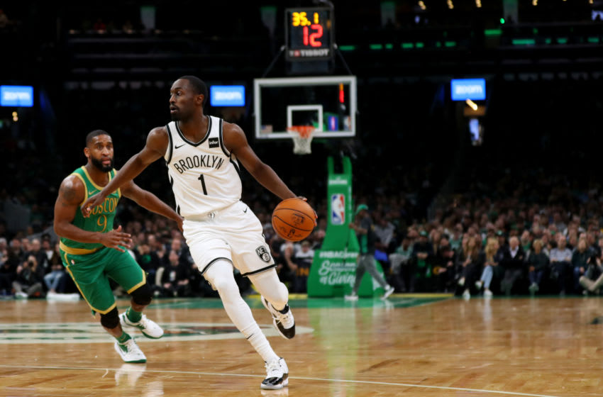 BOSTON, MASSACHUSETTS - NOVEMBER 27: Brad Wanamaker #9 of the Boston Celtics defends Theo Pinson #1 of the Brooklyn Nets during the second half at TD Garden on November 27, 2019 in Boston, Massachusetts. The Celtics defeat the Nets 121-110. (Photo by Maddie Meyer/Getty Images)