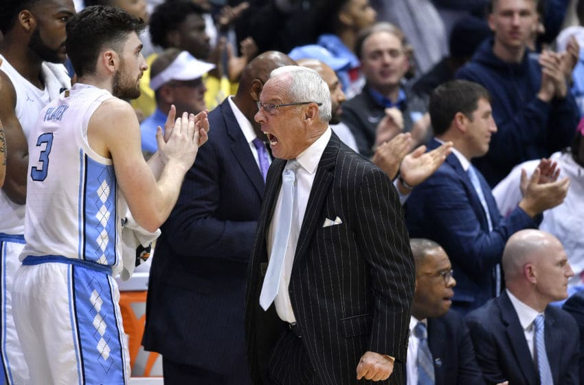 CHAPEL HILL, NORTH CAROLINA - DECEMBER 04: Head coach Roy Williams of the North Carolina Tar Heels reacts during the second half of their game against the Ohio State Buckeyes at the Dean Smith Center on December 04, 2019 in Chapel Hill, North Carolina. Ohio State won 74-49. (Photo by Grant Halverson/Getty Images)