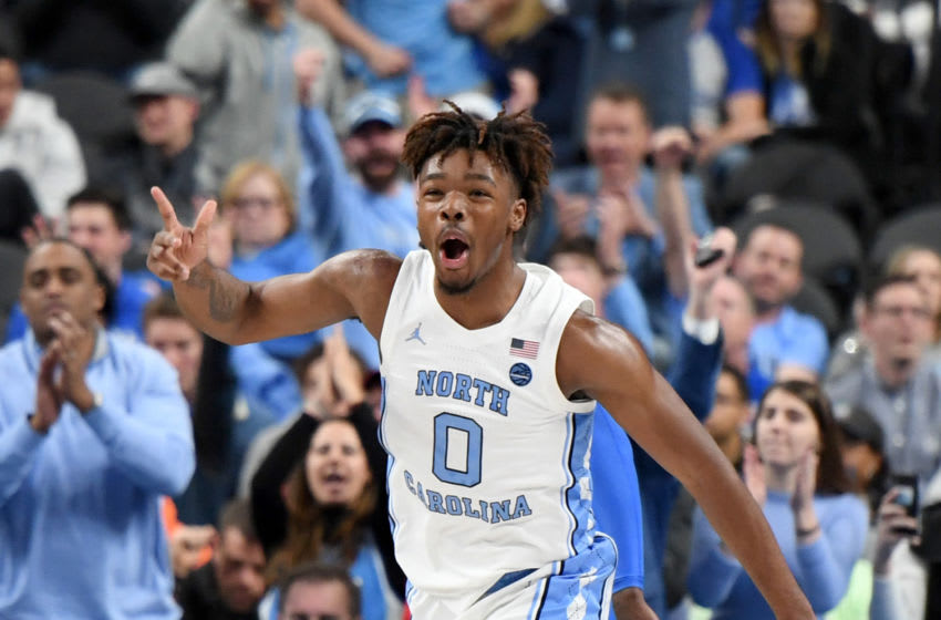 LAS VEGAS, NEVADA - DECEMBER 21: Anthony Harris #0 of the North Carolina Tar Heels reacts after hitting a 3-pointer against the UCLA Bruins during the CBS Sports Classic at T-Mobile Arena on December 21, 2019 in Las Vegas, Nevada. The Tar Heels defeated the Bruins 74-64. (Photo by Ethan Miller/Getty Images)