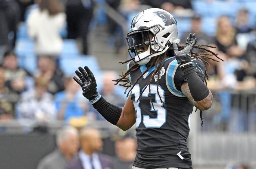 CHARLOTTE, NORTH CAROLINA - DECEMBER 29: Tre Boston #33 of the Carolina Panthers dances as he warms up before their game against the New Orleans Saints at Bank of America Stadium on December 29, 2019 in Charlotte, North Carolina. (Photo by Grant Halverson/Getty Images)