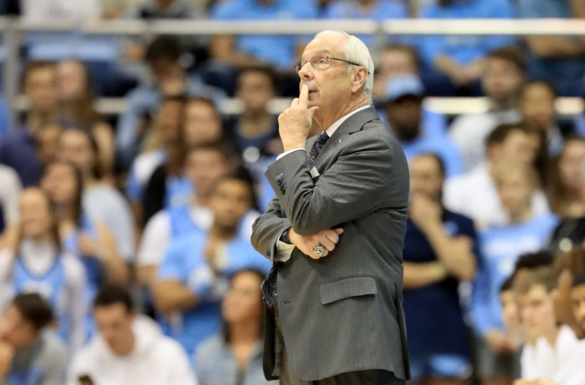 CHAPEL HILL, NORTH CAROLINA - DECEMBER 30: Head coach Roy Williams of the North Carolina Tar Heels watches on against the Yale Bulldogs during their game at Dean Smith Center on December 30, 2019 in Chapel Hill, North Carolina. (Photo by Streeter Lecka/Getty Images)