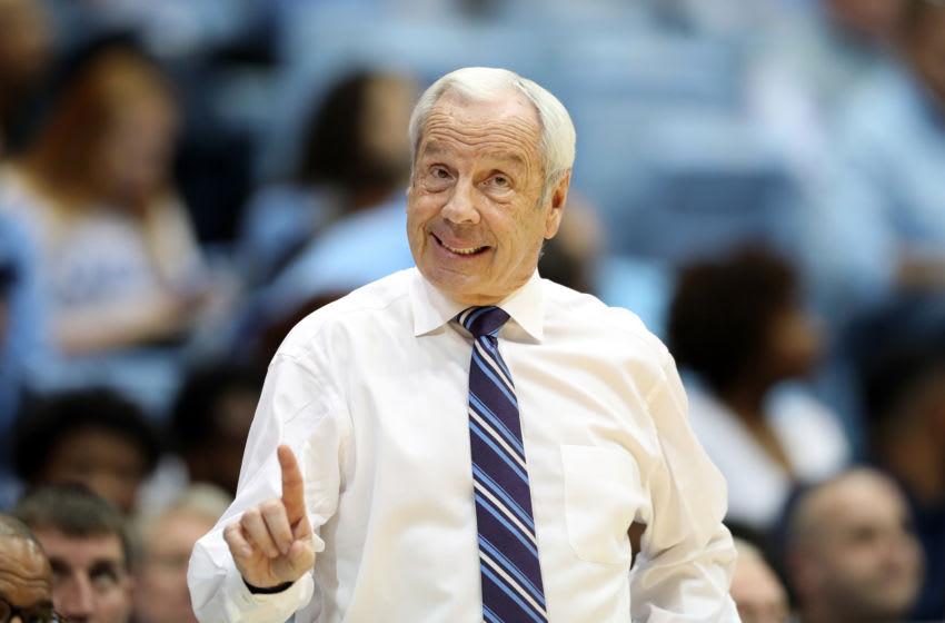 CHAPEL HILL, NC - JANUARY 04: Head coach Roy Williams of the University of North Carolina during a game between Georgia Tech and North Carolina at Dean E. Smith Center on January 4, 2020 in Chapel Hill, North Carolina. (Photo by Andy Mead/ISI Photos/Getty Images).