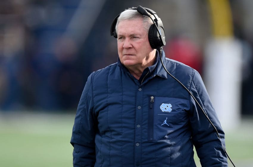 ANNAPOLIS, MD - DECEMBER 27: Head Coach Mack Brown of the North Carolina Tar Heels watches the game against the Temple Owls in the Military Bowl Presented by Northrop Grumman at Navy-Marine Corps Memorial Stadium on December 27, 2019 in Annapolis, Maryland. (Photo by G Fiume/Getty Images)