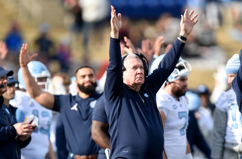 ANNAPOLIS, MD - DECEMBER 27: Head Coach Mack Brown of the North Carolina Tar Heels celebrates a touchdown during the game against the Temple Owls in the Military Bowl Presented by Northrop Grumman at Navy-Marine Corps Memorial Stadium on December 27, 2019 in Annapolis, Maryland. (Photo by G Fiume/Getty Images)