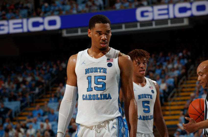 CHAPEL HILL, NC - JANUARY 11: Garrison Brooks #15 of the North Carolina Tar Heels plays during a game against the Clemson Tigers on January 11, 2020 at the Dean Smith Center in Chapel Hill, North Carolina. Clemson won 76-79 in overtime. (Photo by Peyton Williams/UNC/Getty Images)