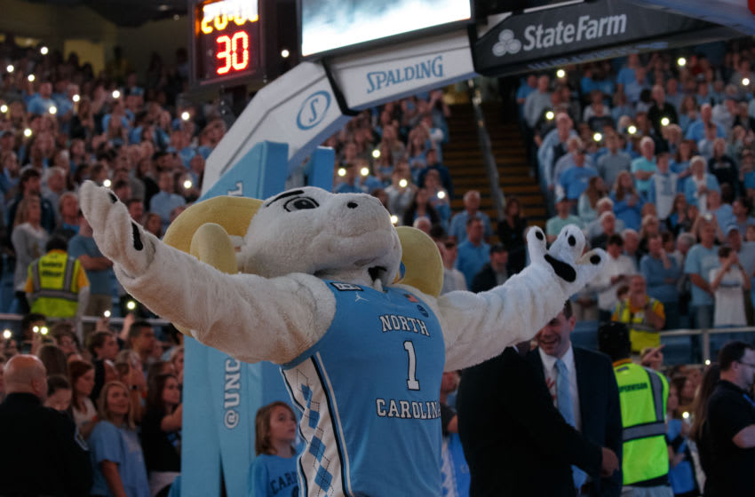 CHAPEL HILL, NC - JANUARY 11: Ramses, the mascot for the North Carolina Tar Heels, cheers before a game against the Clemson Tigers on January 11, 2020 at the Dean Smith Center in Chapel Hill, North Carolina. Clemson won 76-79 in overtime. (Photo by Peyton Williams/UNC/Getty Images)