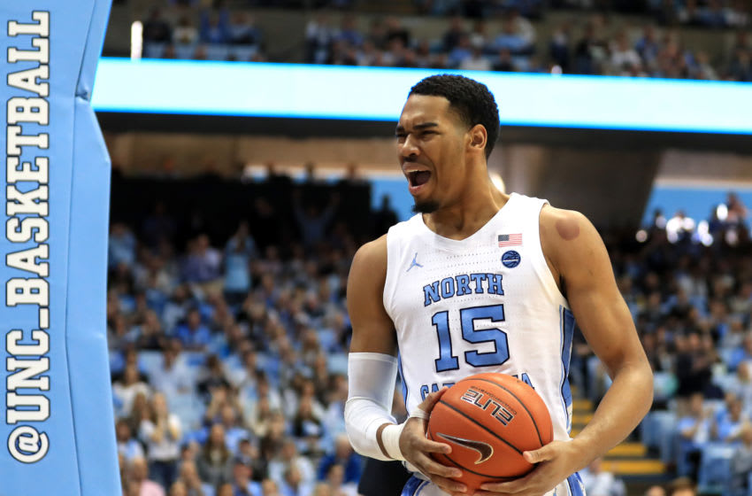 CHAPEL HILL, NORTH CAROLINA - JANUARY 25: Garrison Brooks #15 of the North Carolina Tar Heels reacts after a play against the Miami (Fl) Hurricanes during their game at Dean Smith Center on January 25, 2020 in Chapel Hill, North Carolina. (Photo by Streeter Lecka/Getty Images)