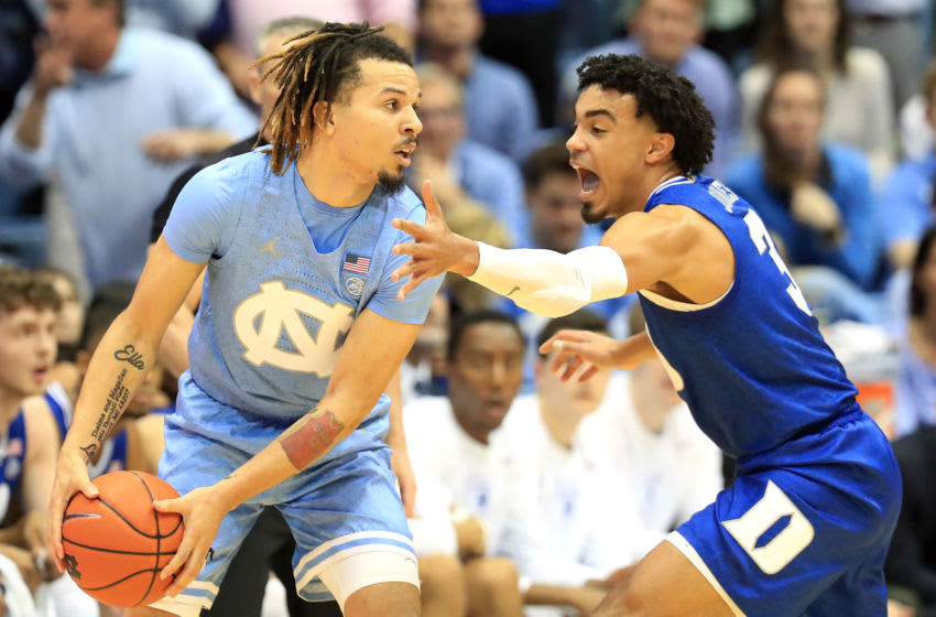 CHAPEL HILL, NORTH CAROLINA - FEBRUARY 08: Tre Jones #3 of the Duke Blue Devils tries to stop Cole Anthony #2 of the North Carolina Tar Heels during their game at Dean Smith Center on February 08, 2020 in Chapel Hill, North Carolina. (Photo by Streeter Lecka/Getty Images)