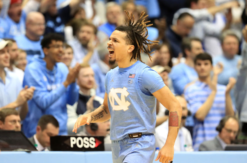 CHAPEL HILL, NORTH CAROLINA - FEBRUARY 08: Cole Anthony #2 of the North Carolina Tar Heels reacts after a play against the Duke Blue Devils during their game at Dean Smith Center on February 08, 2020 in Chapel Hill, North Carolina. (Photo by Streeter Lecka/Getty Images)