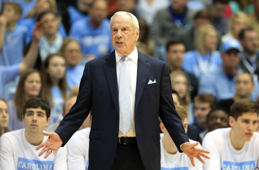 CHAPEL HILL, NORTH CAROLINA - FEBRUARY 08: Head coach Roy Williams of the North Carolina Tar Heels watches on against the Duke Blue Devils during their game at Dean Smith Center on February 08, 2020 in Chapel Hill, North Carolina. (Photo by Streeter Lecka/Getty Images)