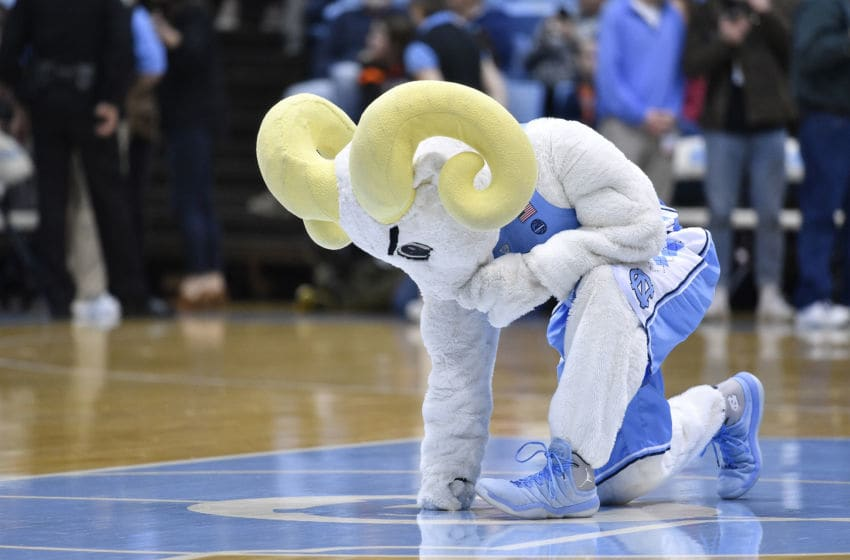 CHAPEL HILL, NORTH CAROLINA - FEBRUARY 15: Rameses, the North Carolina Tar Heels mascot, kneels at midcourt before their game against the Virginia Cavaliers at the Dean Smith Center on February 15, 2020 in Chapel Hill, North Carolina. (Photo by Grant Halverson/Getty Images)