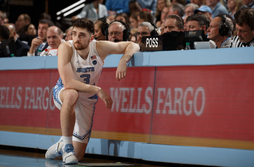 CHAPEL HILL, NC - FEBRUARY 01: Andrew Platek #3 of the North Carolina Tar Heels plays during a game against the Boston College Eagles on February 01, 2020 at the Dean Smith Center in Chapel Hill, North Carolina. Boston College won 70-71. (Photo by Peyton Williams/UNC/Getty Images)