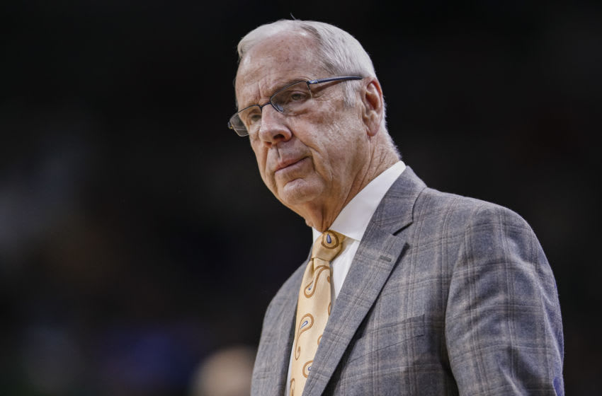 SOUTH BEND, IN - FEBRUARY 17: Head coach Roy Williams of the North Carolina Tar Heels is seen during the game against the Notre Dame Fighting Irish at Purcell Pavilion on February 17, 2020 in South Bend, Indiana. (Photo by Michael Hickey/Getty Images)