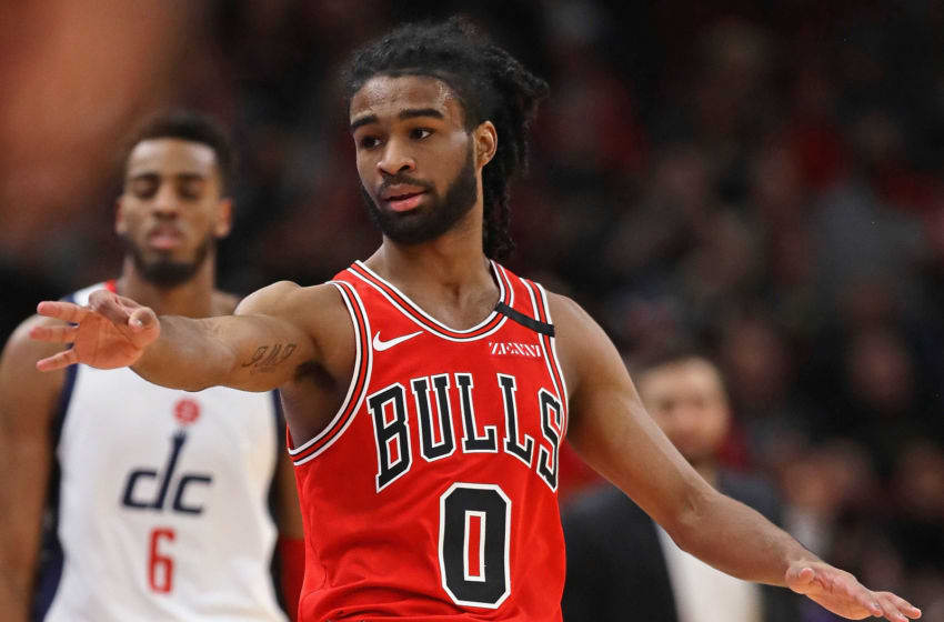 CHICAGO, ILLINOIS - FEBRUARY 23: Coby White #0 of the Chicago Bulls holds out three fingers after hitting a three point shot against the Washington Wizards at the United Center on February 23, 2020 in Chicago, Illinois. NOTE TO USER: User expressly acknowledges and agrees that, by downloading and or using this photograph, User is consenting to the terms and conditions of the Getty Images License Agreement. (Photo by Jonathan Daniel/Getty Images)