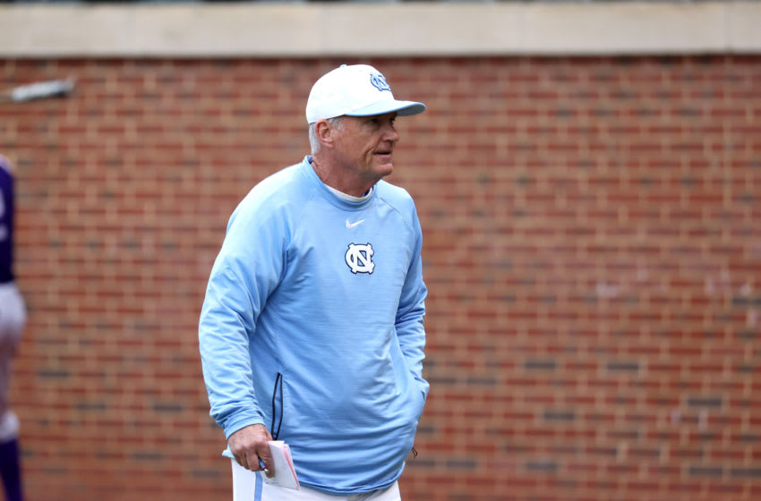 CHAPEL HILL, NC - FEBRUARY 19: Head coach Mike Fox #30 of the University of North Carolina during a game between High Point and North Carolina at Boshamer Stadium on February 19, 2020 in Chapel Hill, North Carolina. (Photo by Andy Mead/ISI Photos/Getty Images)