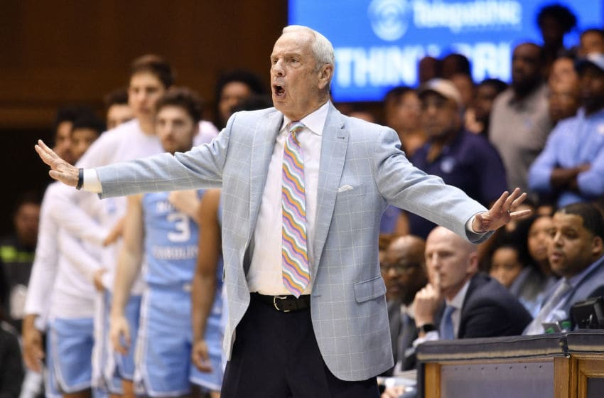 DURHAM, NORTH CAROLINA - MARCH 07: Head coach Roy Williams of the North Carolina Tar Heels reacts during the second half of their game against the Duke Blue Devils at Cameron Indoor Stadium on March 07, 2020 in Durham, North Carolina. Duke won 89-76. (Photo by Grant Halverson/Getty Images)