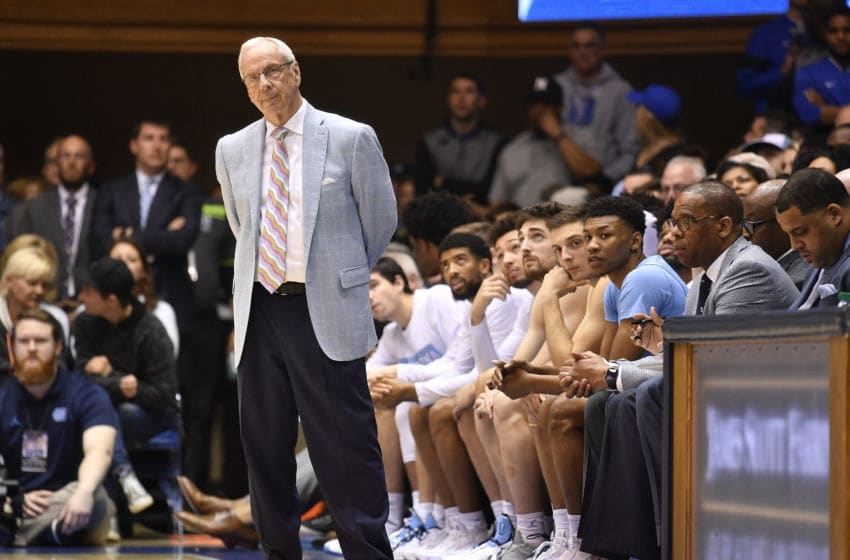 DURHAM, NORTH CAROLINA - MARCH 07: Head coach Roy Williams of the North Carolina Tar Heels watches his team play against the Duke Blue Devils during the second half of their game at Cameron Indoor Stadium on March 07, 2020 in Durham, North Carolina. Duke won 89-76. (Photo by Grant Halverson/Getty Images)