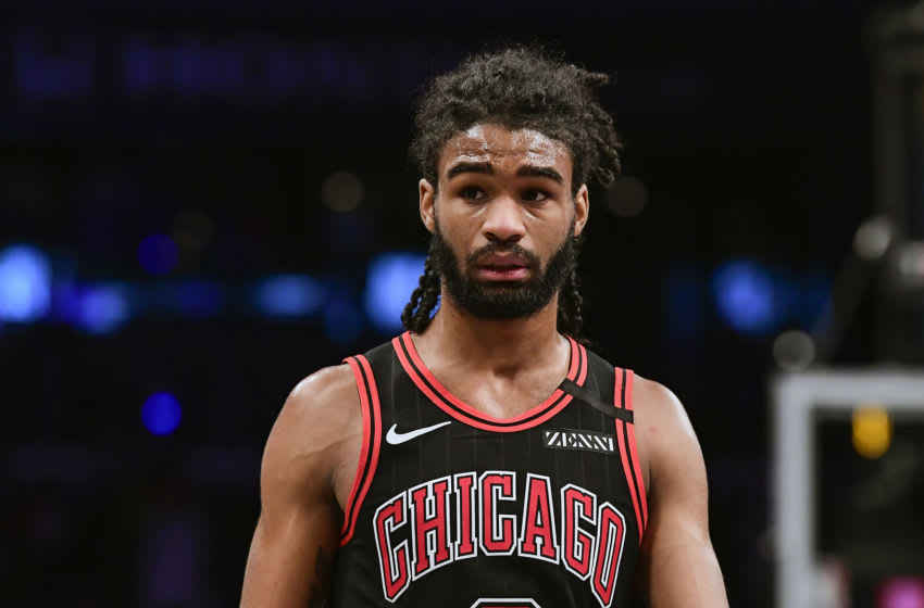 NEW YORK, NEW YORK - MARCH 08: Coby White #0 of the Chicago Bulls looks on against the Brooklyn Nets in the second half at Barclays Center on March 08, 2020 in New York City. NOTE TO USER: User expressly acknowledges and agrees that, by downloading and or using this photograph, User is consenting to the terms and conditions of the Getty Images License Agreement. (Photo by Steven Ryan/Getty Images)