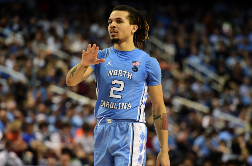GREENSBORO, NORTH CAROLINA - MARCH 10: Cole Anthony #2 of the North Carolina Tar Heels reacts following a play against the Virginia Tech Hokies during their game in the first round of the 2020 Men's ACC Basketball Tournament at Greensboro Coliseum on March 10, 2020 in Greensboro, North Carolina. (Photo by Jared C. Tilton/Getty Images)