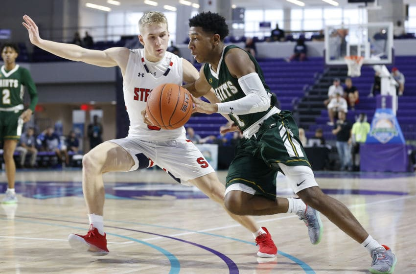 FORT MYERS, FLORIDA - DECEMBER 18: Kennedy Chandler #1 of Briarcrest Christian School in action against Archbishop Stepinac High School during the City of Palms Classic Day 1 at Suncoast Credit Union Arena on December 18, 2019 in Fort Myers, Florida. (Photo by Michael Reaves/Getty Images)