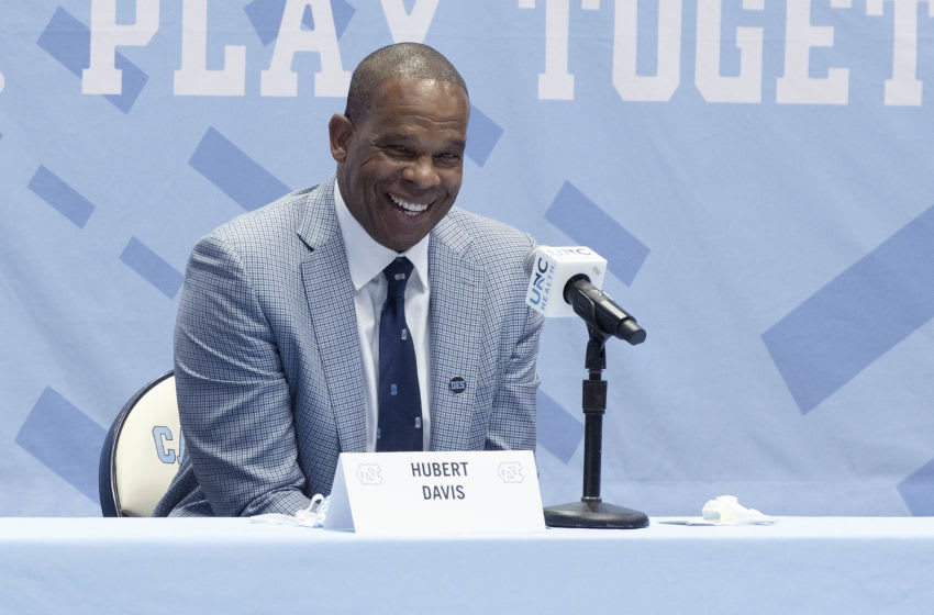CHAPEL HILL, NC - APRIL 06: Hubert Davis is introduced as the new men's head basketball coach at the University of North Carolina at Dean E. Smith Center on April 6, 2021 in Chapel Hill, North Carolina. (Photo by Jeffrey Camarati/Getty Images)