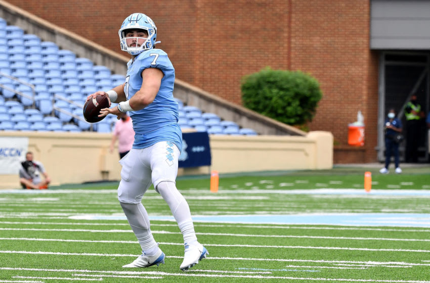 CHAPEL HILL, NORTH CAROLINA - SEPTEMBER 12: Sam Howell #7 of the North Carolina Tar Heels drops back to pass against the Syracuse Orange during their game at Kenan Stadium on September 12, 2020 in Chapel Hill, North Carolina. (Photo by Grant Halverson/Getty Images)
