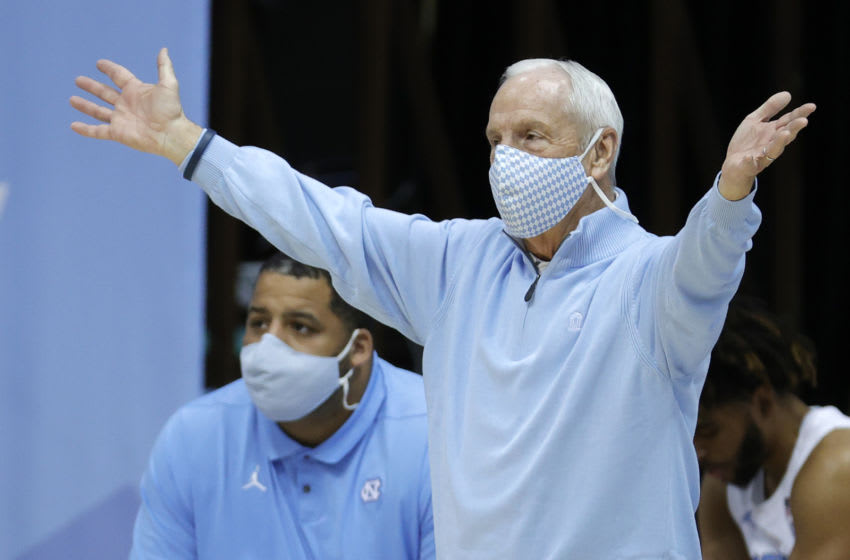 CHAPEL HILL, NORTH CAROLINA - JANUARY 02: Head coach Roy Williams of the North Carolina Tar Heels reacts following a play during the first half of their game against the Notre Dame Fighting Irish at Dean Smith Center on January 02, 2021 in Chapel Hill, North Carolina. (Photo by Jared C. Tilton/Getty Images)