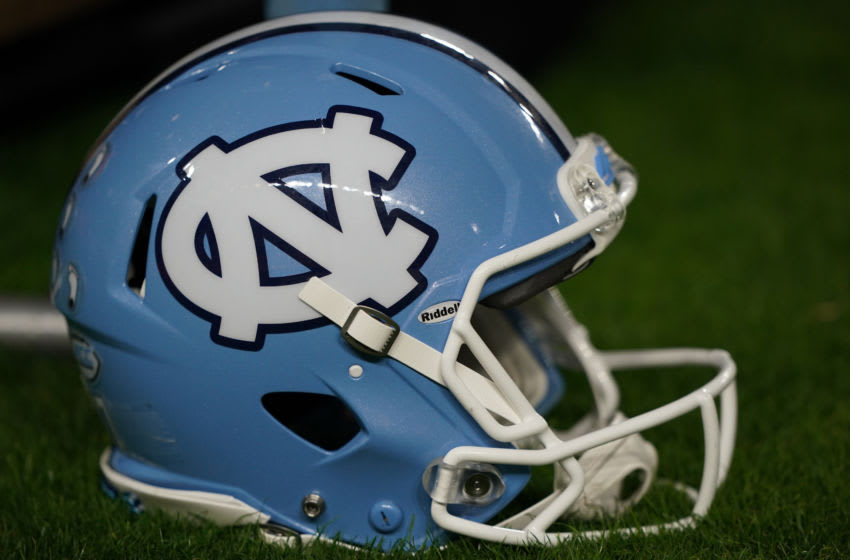 MIAMI GARDENS, FLORIDA - JANUARY 02: A general view of the North Carolina Tar Heels helmet on the sidelines during the game against the Texas A&M Aggies in the Capital One Orange Bowl at Hard Rock Stadium on January 02, 2021 in Miami Gardens, Florida. (Photo by Mark Brown/Getty Images)