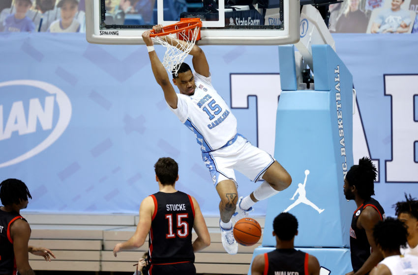 CHAPEL HILL, NORTH CAROLINA - FEBRUARY 17: Garrison Brooks #15 of the North Carolina Tar Heels dunks against the Northeastern Huskies during the second half of their game at the Dean Smith Center on February 17, 2021 in Chapel Hill, North Carolina. North Carolina won 82-62. (Photo by Grant Halverson/Getty Images)