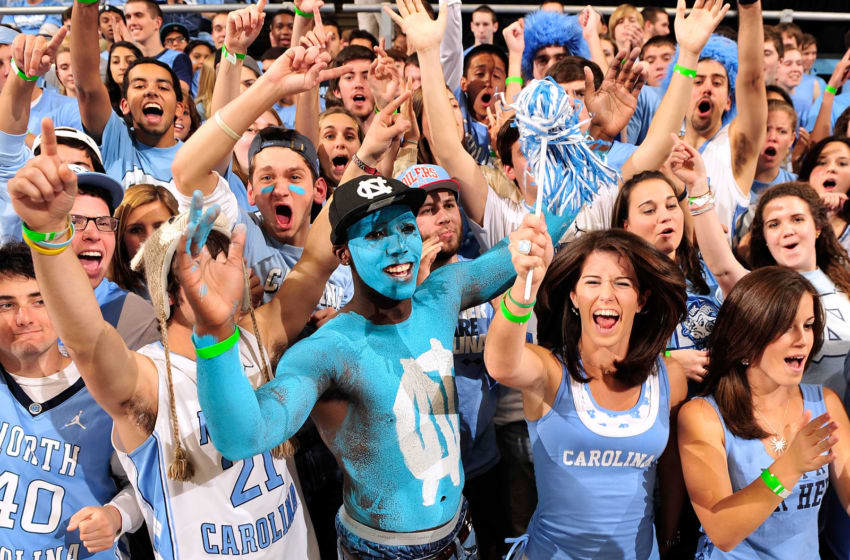 CHAPEL HILL, NC - NOVEMBER 30: North Carolina Tar Heels fans cheer during a game against the Wisconsin Badgers at the Dean Smith Center on November 30, 2011 in Chapel Hill, North Carolina. (Photo by Grant Halverson/Getty Images)
