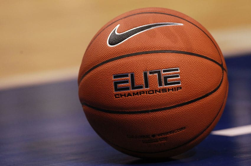 DALLAS, TX - DECEMBER 28: A Nike Elite Championship basketball on the court during play between the Mississippi State Bulldogs and the Baylor Bears at American Airlines Center on December 28, 2011 in Dallas, Texas. (Photo by Ronald Martinez/Getty Images)