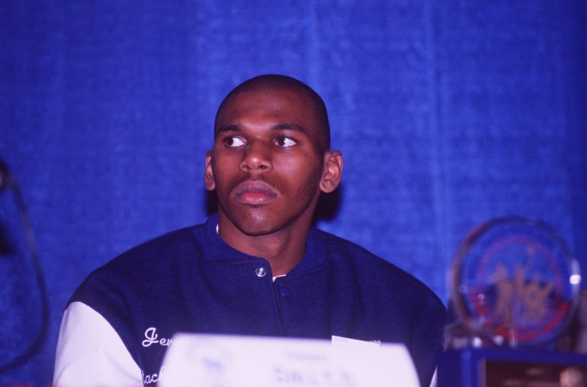 7 APR 1995: NORTH CAROLINA FORWARD JERRY STACKHOUSE SITS AT A TABLE AWAITING THE ANNOUNCEMENT OF THE WINNER OF THE JOHN WOODEN AWARD AT THE L.A. ATHLETIC CLUB IN LOS ANGELES, CALIFORNIA Mandatory Credit: Stephen Dunn/ALLSPORT