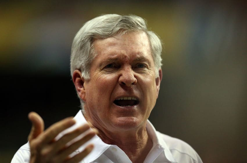 SAN ANTONIO, TX - DECEMBER 30: Head coach Mack Brown of the Texas Longhorns looks on against the Oregon Ducks during the Valero Alamo Bowl at the Alamodome on December 30, 2013 in San Antonio, Texas. (Photo by Ronald Martinez/Getty Images)
