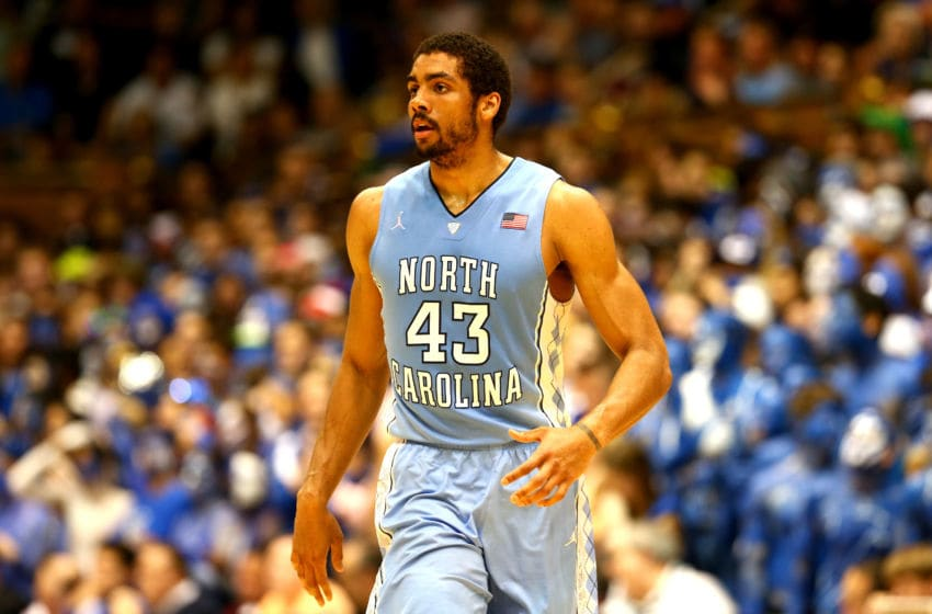 DURHAM, NC - MARCH 08: James Michael McAdoo #43 of the North Carolina Tar Heels during their game at Cameron Indoor Stadium on March 8, 2014 in Durham, North Carolina. (Photo by Streeter Lecka/Getty Images)