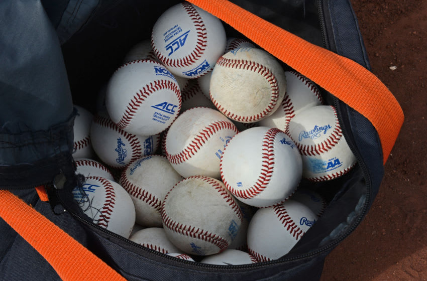 Omaha, NE - JUNE 23: A general view of a bag of baseballs before the start of the game between the Virginia Cavaliers and the Vanderbilt Commodores during game two of the College World Series Championship Series on June 23, 2015 at TD Ameritrade Park in Omaha, Nebraska. (Photo by Peter Aiken/Getty Images) Omaha, NE - JUNE 23: A general view of the away jersey of the Vanderbilt Commodores and the home jersey of the Virginia Cavaliers before the start of game two of the College World Series Championship Series on June 23, 2015 at TD Ameritrade Park in Omaha, Nebraska. (Photo by Peter Aiken/Getty Images)