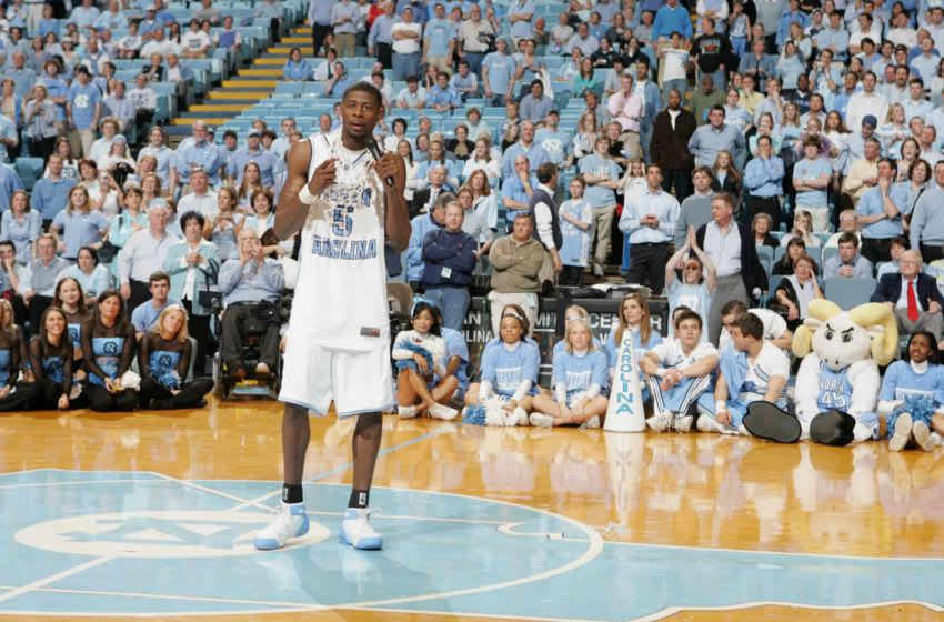 CHAPEL HILL, NC - MARCH 06: Jackie Manuel #5 of the North Carolina Tar Heels speaks at midcourt following the game against the Duke Blue Devils on March 6, 2005 at the Dean E. Smith Center in Chapel Hill, North Carolina. The Tar Heels defeated the Blue Devils 75-73. (Photo by Streeter Lecka/Getty Images)