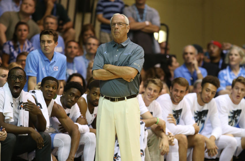 LAHAINA, HI - NOVEMBER 23: Head coach Roy Williams of the North Carolina Tar Heels watches the action during the second half of the championship game against the Wisconsin Badgers of the Maui Invitational at the Lahaina Civic Center on November 23, 2016 in Lahaina, Hawaii. (Photo by Darryl Oumi/Getty Images)
