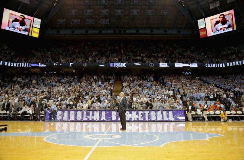 CHAPEL HILL, NC - JANUARY 16: Head coach Roy Williams of the North Carolina Tar Heels celebrates after his 800th career victory with a 85-68 win over the Syracuse Orange at the Dean Smith Center on January 16, 2017 in Chapel Hill, North Carolina. (Photo by Streeter Lecka/Getty Images)