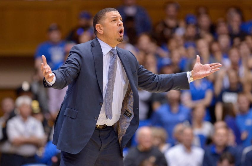 DURHAM, NC - JANUARY 23: Acting head coach Jeff Capel of the Duke Blue Devils reacts during the game against the North Carolina State Wolfpack at Cameron Indoor Stadium on January 23, 2017 in Durham, North Carolina. North Carolina State won 84-82. (Photo by Grant Halverson/Getty Images)