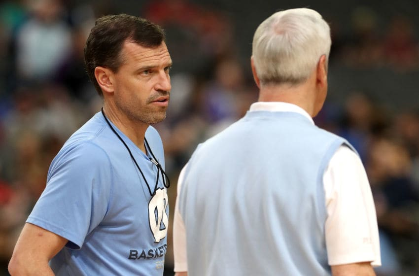 GLENDALE, AZ - MARCH 31: Assistant coach C.B. McGrath speaks to head coach Roy Williams of the North Carolina Tar Heels during practice ahead of the 2017 NCAA Men's Basketball Final Four at University of Phoenix Stadium on March 31, 2017 in Glendale, Arizona. (Photo by Christian Petersen/Getty Images)