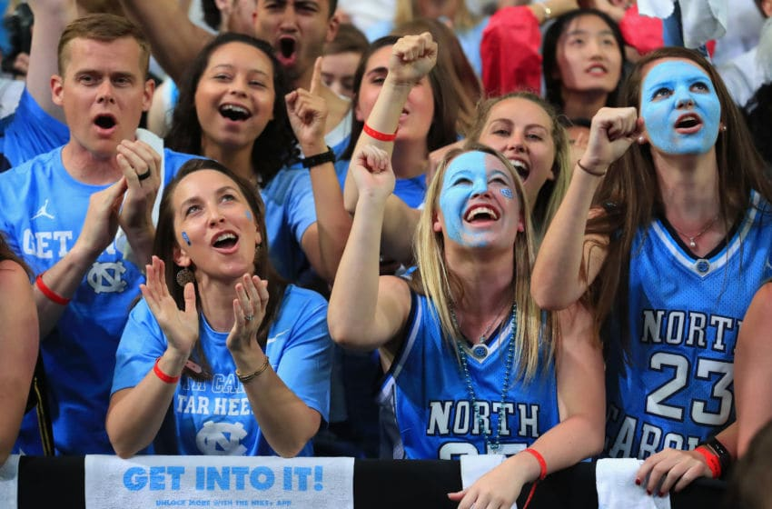 GLENDALE, AZ - APRIL 03: North Carolina Tar Heels fans cheer during the game against the Gonzaga Bulldogs during the 2017 NCAA Men's Final Four National Championship game at University of Phoenix Stadium on April 3, 2017 in Glendale, Arizona. (Photo by Tom Pennington/Getty Images)