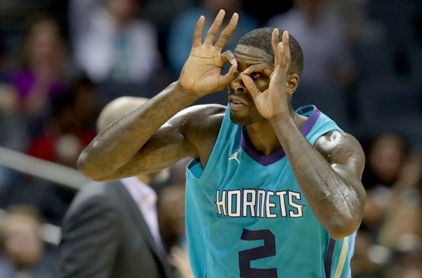 CHARLOTTE, NC - NOVEMBER 01: Marvin Williams #2 of the Charlotte Hornets reacts after making a basket against the Milwaukee Bucks during their game at Spectrum Center on November 1, 2017 in Charlotte, North Carolina. NOTE TO USER: User expressly acknowledges and agrees that, by downloading and or using this photograph, User is consenting to the terms and conditions of the Getty Images License Agreement. (Photo by Streeter Lecka/Getty Images)
