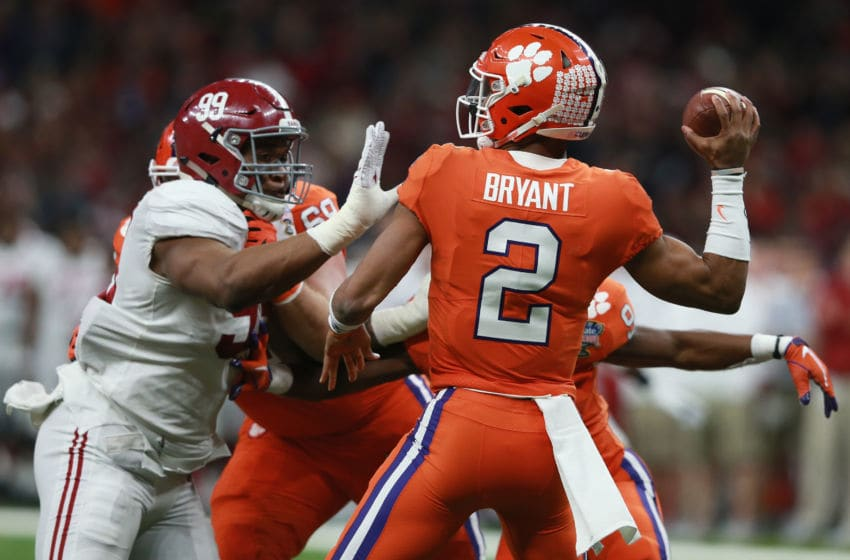 NEW ORLEANS, LA - JANUARY 01: Kelly Bryant #2 of the Clemson Tigers thows the ball as Raekwon Davis #99 of the Alabama Crimson Tide defends in the first half of the AllState Sugar Bowl at the Mercedes-Benz Superdome on January 1, 2018 in New Orleans, Louisiana. (Photo by Sean Gardner/Getty Images)