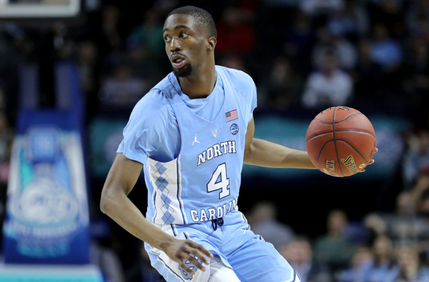 NEW YORK, NY - MARCH 08: Brandon Robinson #4 of the North Carolina Tar Heels looks down the court in the first half against the Miami (Fl) Hurricanes during the quarterfinals of the ACC Men's Basketball Tournament at Barclays Center on March 8, 2018 in the Brooklyn borough of New York City. (Photo by Abbie Parr/Getty Images)
