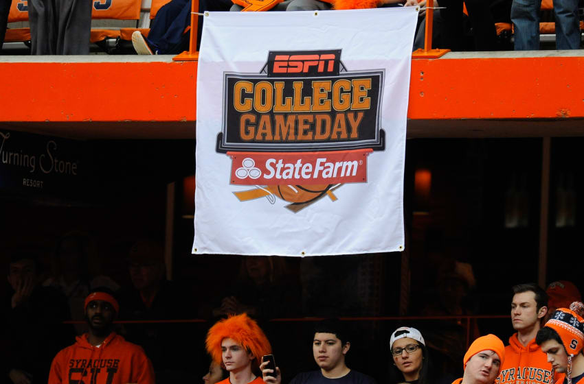 SYRACUSE, NY - FEBRUARY 01: General view of a ESPN College GameDay banner prior to the game between the Duke Blue Devils and the Syracuse Orange at the Carrier Dome on February 1, 2014 in Syracuse, New York. (Photo by Rich Barnes/Getty Images)
