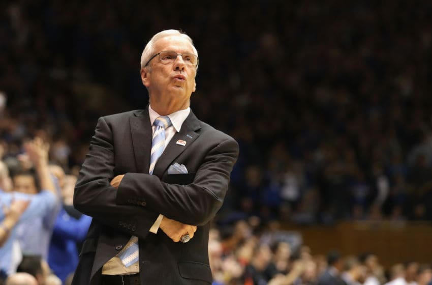 DURHAM, NC - FEBRUARY 09: Head coach Roy Williams of the North Carolina Tar Heels watches on during their game against the Duke Blue Devils at Cameron Indoor Stadium on February 9, 2017 in Durham, North Carolina. (Photo by Streeter Lecka/Getty Images)