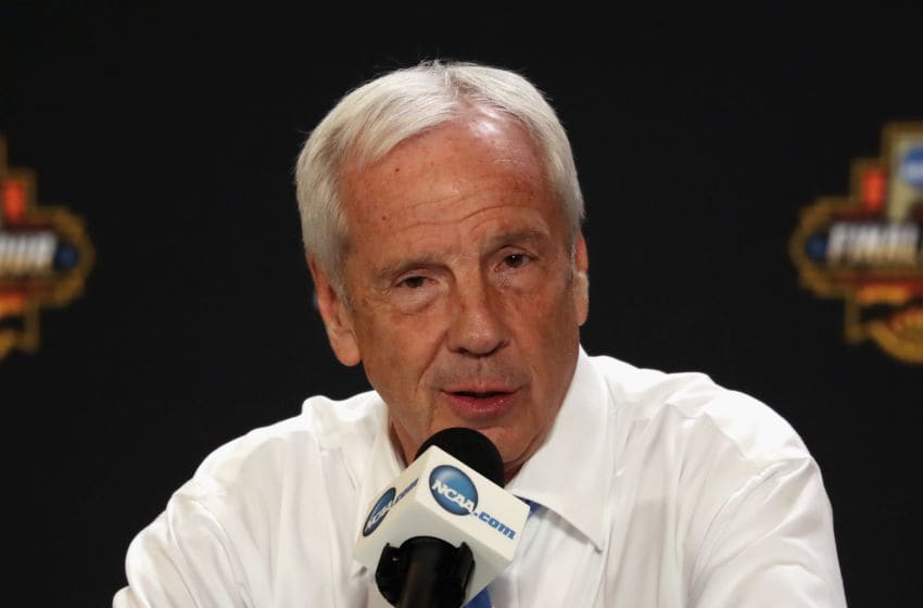 GLENDALE, AZ - APRIL 03: Head coach Roy Williams of the North Carolina Tar Heels speaks in a press conference after defeating the Gonzaga Bulldogs during the 2017 NCAA Men's Final Four National Championship game at University of Phoenix Stadium on April 3, 2017 in Glendale, Arizona. The Tar Heels defeated the Bulldogs 71-65. (Photo by Christian Petersen/Getty Images)